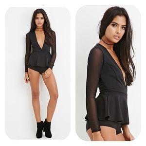 EUC Forever 21 plunging bodysuit sexy black mesh